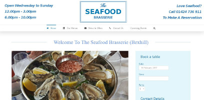 Web design for The Seafood Brasserie Bexhill on Sea