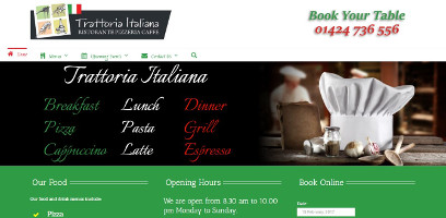 Wordpress website design for Trattoria Italiana Bexhill