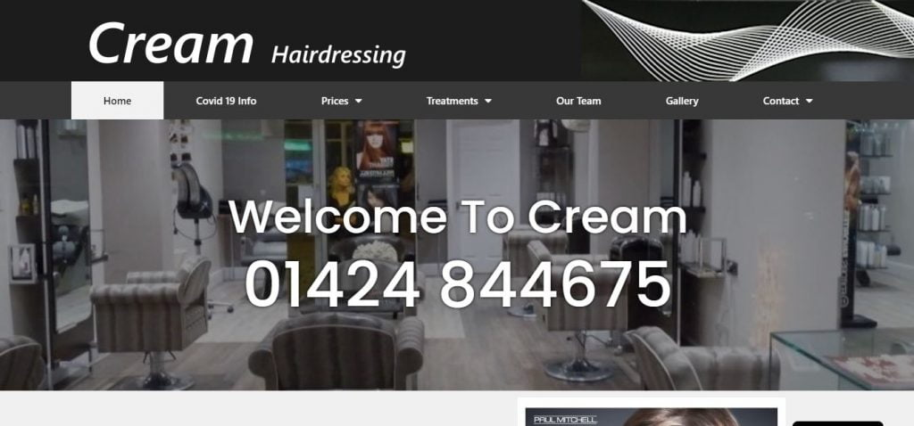 Cream Hairdressing Salon Website